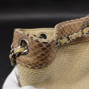 Chanel Bags - Chanel Raffia Straw and Python Chain Drawstring